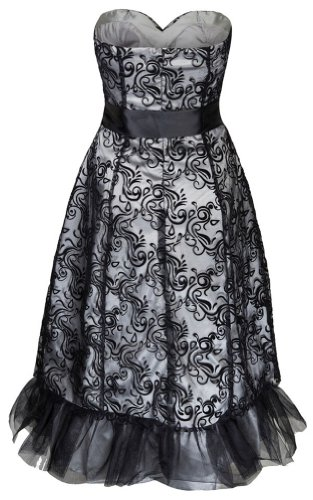 Lindy Bop Maisie Elegant Vintage 1950s Layered Devore Tulle Prom Dress (22, Black/Silver): Amazon.co.uk: Clothing