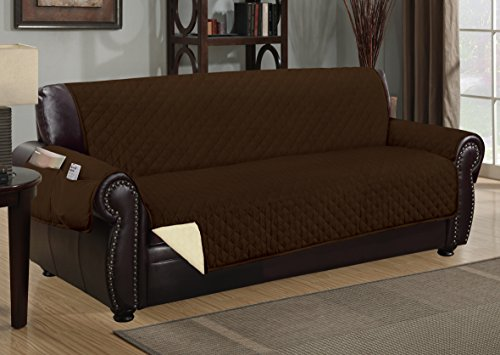 The Original DELUXE HOTEL Reversible and Waterproof Furniture Protector (Sofa, Chocolate / Beige)
