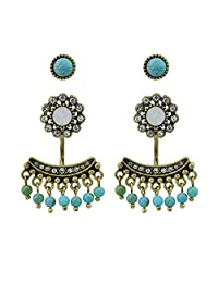 Vintage Style Ear Jacket Antique Gold Tone Rhinestone Flower Blue Stone Bead Tassel Stud Earrings For Women