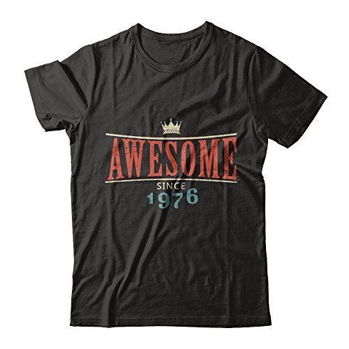 Teely Shop Men's Retro Awesome Since 1976 Birthday Constume Next Level - Unisex Fitted Tee/Black/M ()