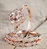 2.25 Carat Morganite and Diamond Trio Wedding Ring Set On Rose Gold with Engagement Ring and Two Wedding Bands