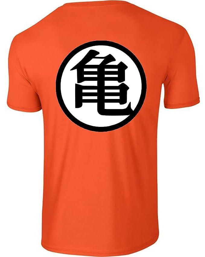 Dragonball Z Cosplay Gokus Master Roshi Emblem Mens Orange T Shirt