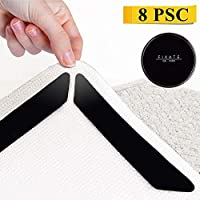 Sagmoc Rug Gripper, Carpet Grippers for Any Floor, 8pcs, Anti Curling & Non Slip, Strong Stickiness without Hurting Floor, Reusable and Easy to Remove/Black