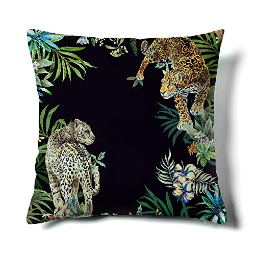 Happy Memories Decor Throw Pillow Cushion Cover, Classic Cashew Floral,Double Leopard,Floral Inspired Design and Cactus, Decorative Square Accent Pillow Case (Black Background Double Leopard) 1PCS (Cover Leopard Black)