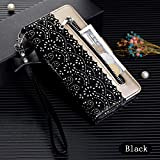 Amocase Wallet Zipper Leather Case with 2 in 1 Stylus for Samsung Galaxy A50,Premium Pretty Lace Flower Print Wrist Strap Magnetic PU Leather Stand Shockproof Case for Galaxy A50 - Black