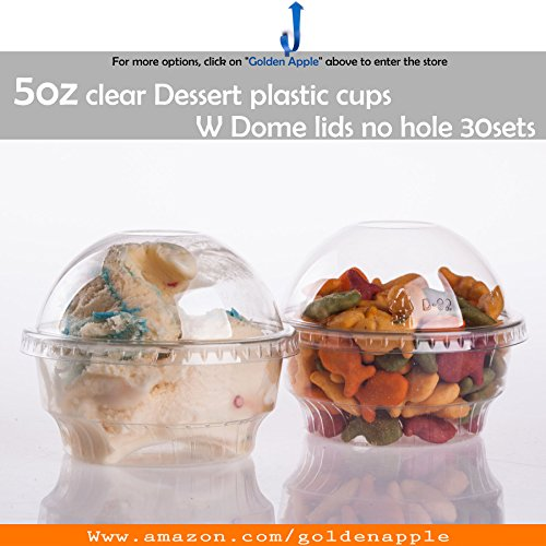 Golden Apple, 5 oz Clear Plastic Cups for Ice Cream, Dessert Cups, Snack Bowl with Dome lids No Hole 30sets