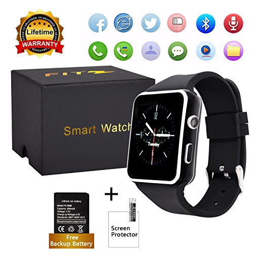 Curved Touch Screen Bluetooth Smart Watch with Camera, Unlocked Watch Cell Phone Waterproof Smartwatch Phone for Android IOS Samsung IPhone Men Women Kids Girls (Black)