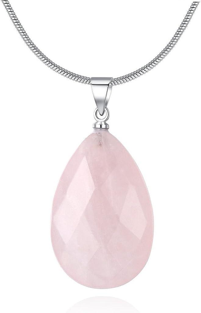 COAI® Collar de Colgante de Piedra Semipreciosa Genuina Cristal Tallado Cuarzo Rosa de Forma Lágrima para Mujer