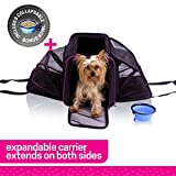 Ruff n Ruffus Dual Expandable Soft Pet Carrier + FREE BOWL | Airline Approved | Safe for use as pet Car Seat | For Dogs Cats and Small Pets | Two Sided Expandable Kennel Crate | Spacious Soft Interior