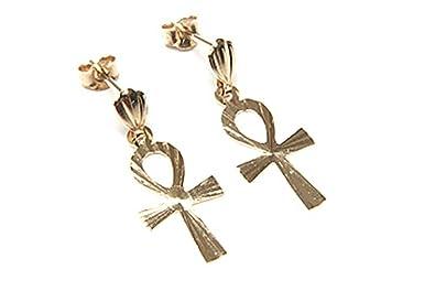 9ct Gold Ankh Stud Earrings w4v3QMUz