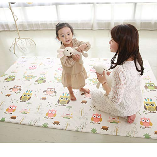 Baby Play Mat Cushion Stylish Floor Foam Mat for Children, Soft Gym Kids Play Mat, Waterproof, Easy to Clean, Soft and Thick, Non Toxic, Reversible (Owl and Star, 90
