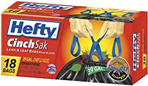 Hefty E8-6720 39-Gallon Cinch Sak Lawn and Leaf Bags, 18-Count