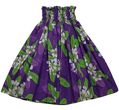 Colors of Rainbow Hawaiian Pa'u Hula Skirt Hawaii Print Red Flower Or Blue Flower for Womens (Purple/Green) -