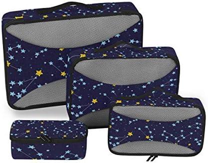 星座の星空荷物パッキングキューブオーガナイザートイレタリーランドリーストレージバッグポーチパックキューブ4さまざまなサイズセットトラベルキッズレディース