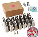 Russian Piping Tips CrownBake PLATINUM 55 Pcs - Cake & Cupcakes Decorating Kit - Perfect Gift For Bakers, Professional Quality - FREE 12 PAGE EBOOK INCLUDED