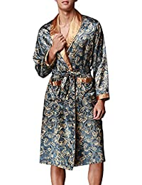 FLYCHEN Men's Satin Robe Floral Kimono Loungewear Lightweight