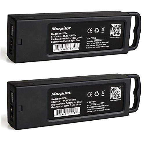 Morpilot 2 Pack Yuneec Typhoon Q500 Battery, 3S 6300mAh 11.1V LiPO Battery, for Yuneec Typhoon Q500+ Q500 4K Typhoon G, with Charging Protection Genuine Parts Extra Flight Time