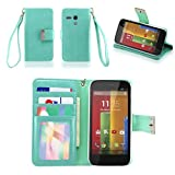 IZENGATE Executive Premium PU Leather Wallet Flip Case Cover Folio Stand for Motorola Moto G (1st Generation) (Mint)