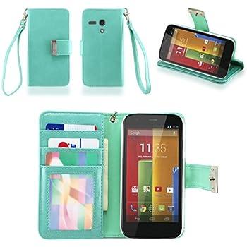 IZENGATE Executive Premium PU Leather Wallet Flip Case Cover Folio Stand for Motorola Moto G (1st Generation) (Mint)
