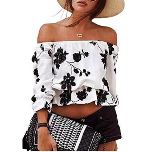 90d73664e25b1 Relipop Women s 3 4 Sleeve Floral Crop Top Strapless Blouses Off Shoulder  Tops 70%