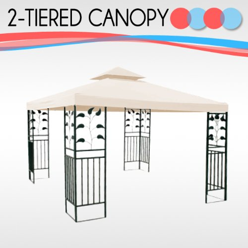 10' x 10' Replacement Gazebo Canopy Beige Top Cover Patio Outdoor Shade 2-Tier