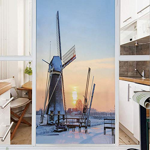 Decorative Window Film,No Glue Frosted Privacy Film,Stained Glass Door Film,Frozen Winter View Dutch Windmill Covered in Snow ICY River at Sunset,for Home & Office,23.6In. by 78.7In Baby Blue Peach