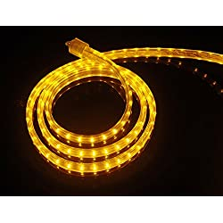 CBconcept UL Listed, 40 Feet, 4300 Lumen, Yellow, Dimmable, 110-120V AC Flexible Flat LED Strip Rope Light, 720 Units 3528 SMD LEDs, Indoor/Outdoor Use, Accessories Included, [Ready to use]