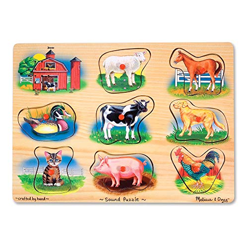 Melissa & Doug Farm Sound Puzzle (Wooden Peg Puzzle With Sound Effects, 8 pieces, Great Gift for Girls and Boys - Best for 2, 3, and 4 Year Olds) (Puzzles With Sound)