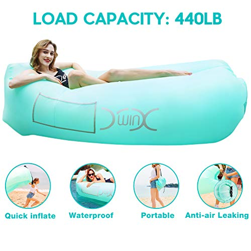 YXwin Inflatable Lounger Air Sofa Hammock, 440lb Anti-Leak Waterproof Portable Beach Chair Pouch Couch Bed with Inflatable Pillow for Pool Backyard Lakeside Traveling Camping Picnics Music Festivals ()