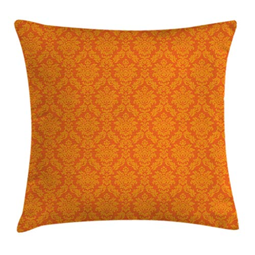 "Ambesonne Orange Throw Pillow Cushion Cover, Classic Baroque Venetian Random Patterns with Antique Ornamental Floral Leaf, Decorative Square Accent Pillow Case, 24"" X 24"", Orange"