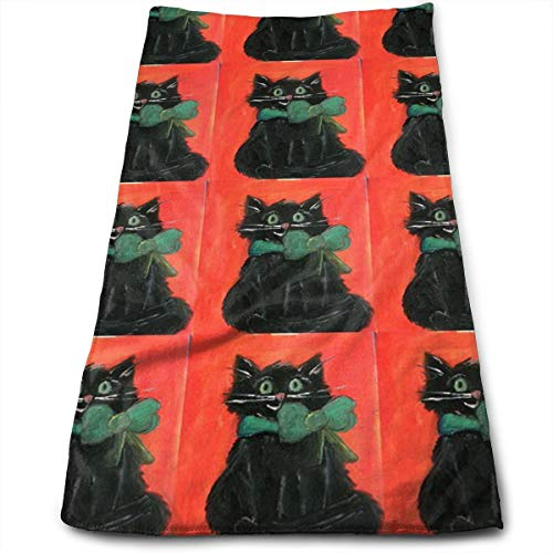 HJOFK Face Towels Hand Towel Workout Face Towels Make-Up Wash Cloths with Black Cat Halloween Kitty Pattern for Household Items ()