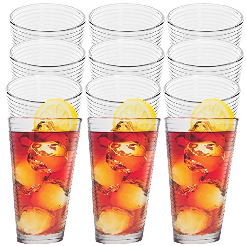 Anchor Hocking (12 Pack)14oz Thick Drinking Glasses Set Clear Glass Beverage Tumbler Glassware Cups (Hocking Milk Anchor)