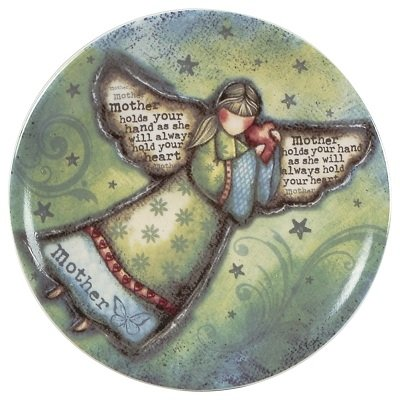 Carson Angel Plate Blessings With Wings 5 Inch Mother Holds Your Hand