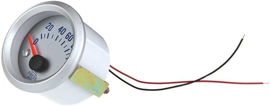 WINOMO Medidor Man/ómetro de Presi/ón de Aceite con 1//8 NPT Sensor Universal para Coche 12V DC Plata