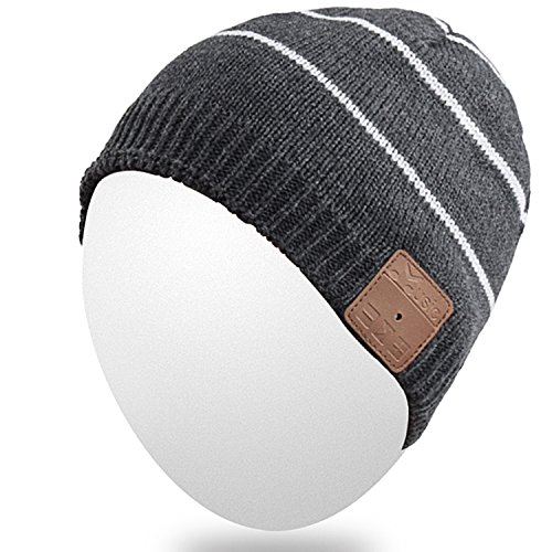 Qshell Rechargeable Wireless Bluetooth Music Beanie Trendy Short Striped Hat
