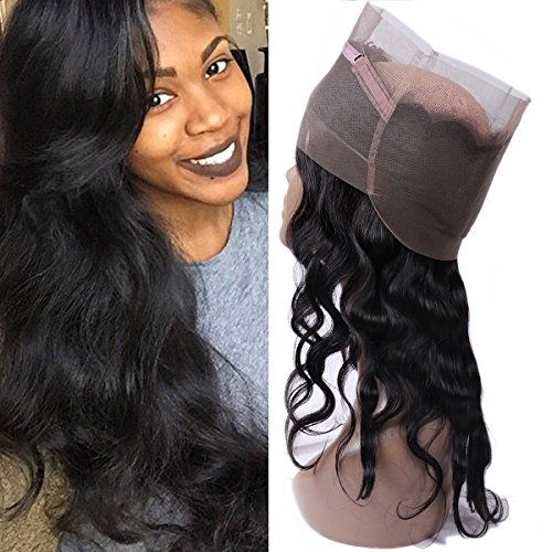 IUEENLY Pre Plucked 360 Lace Frontal Closure Brazilian Virgin Hair Body Wave Human Hair 360 Frontal Lace Closure Free Part Natural Color (10inch) from IUEENLY