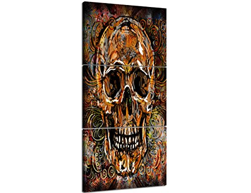 Large Canvas Wall Art Sugar Skull Feature Painting,Day of The Dead Contemporary Pictures Abstract Artwork Crossbones Framed Decor for Living Room 3 Panel Stretched Ready to Hang (28''Wx60''H)