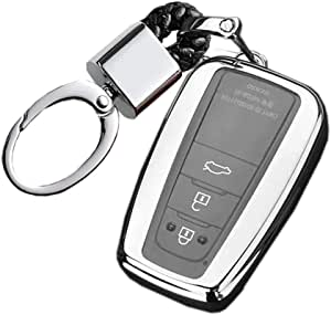Royalfox(TM) 2/3/4 Buttons Soft TPU Smart keyless Remote Key Fob case Cover Shell Keychain for 2018 2019 2020 Toyota Camry RAV4 Avalon C-HR Prius Corolla HYQ14FBC (Silver)