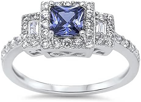 Halo Princess Cut Simulated Tanzanite Cubic Zirconia Ring Sterling Silver 925 (Sizes 4-10)
