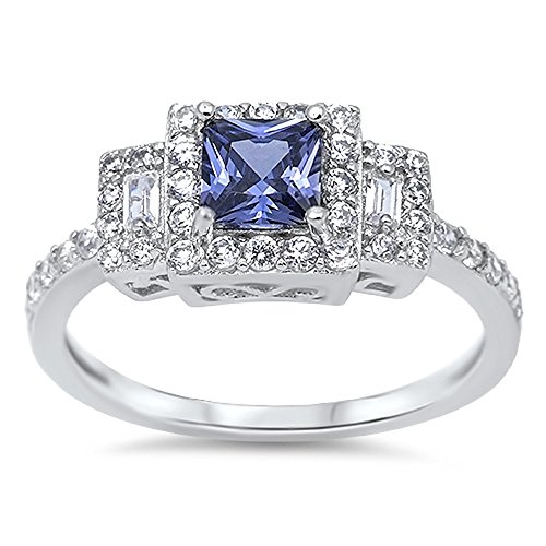 CloseoutWarehouse Princess Cut Simulated Tanzanite Cubic Zirconia Halo Ring Sterling Silver Size 7 by CloseoutWarehouse