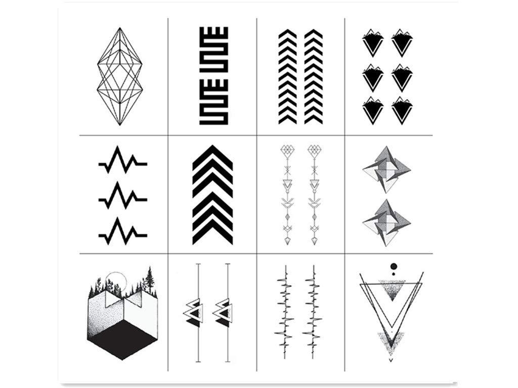 SanerLian - Tatuaje temporal, diseño de triángulo, color negro ...
