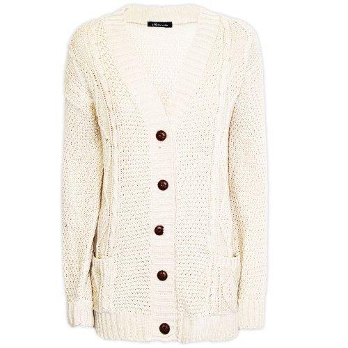 Cream Cardigan Sweater - 2