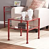 Lana Metal/Glass Bunching Cocktail Table in Red