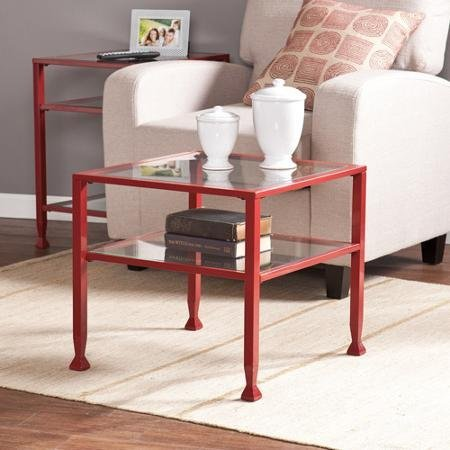 Lana Metal/Glass Bunching Cocktail Table in Red by Generic