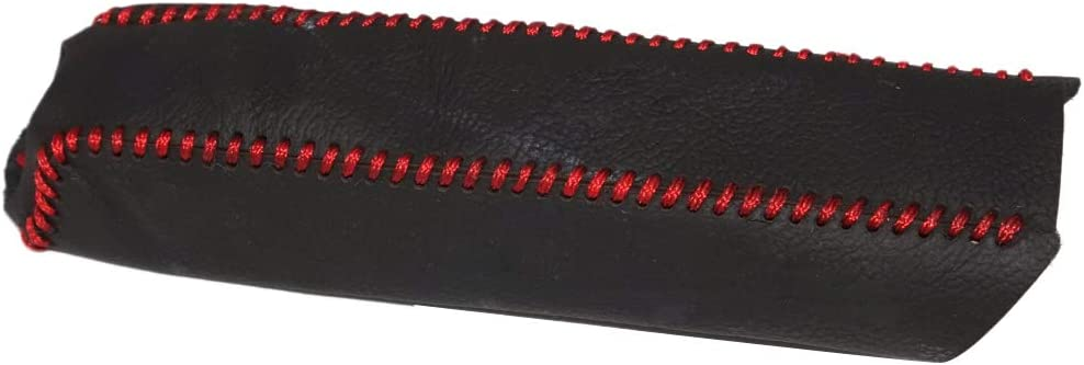 Beler Schwarz Leder Rot Nähen Handbremse Dekorative Abdeckung Hülle Schutzhülle Auto