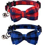 Lamphy 2 Pack Set Cat Collar Breakaway with Cute Bow Tie and Bell for Kitty Adjustable Safety Plaid