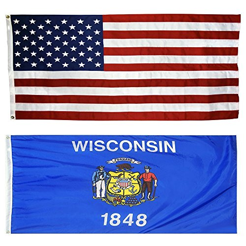 US Flag with Wisconsin State Flag 3 x 5 - 100% American Made - Nylon