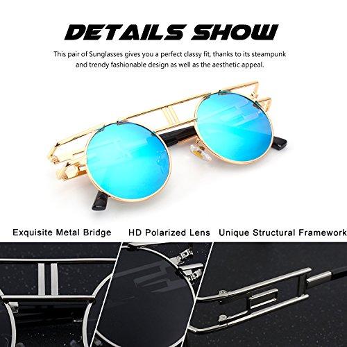 sol polarizadas de círculo metálico inspirado Dorado hombres B Steampunk CGID para redondo gafas retro Azul estilo E71 qvFwPH