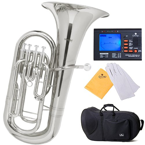 Mendini B-Flat Euphonium, Nickel Plated and Tuner, Case - MEP-N+92D - Nickel Mendini by Cecilio