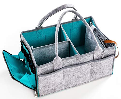 Baby Diaper Caddy Organizer with Zipper Pocket Heavy Duty Felt/Portable Nursery and Toy Storage/Car Basket